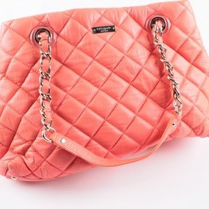KATE SPADE Quilted Leather Coral Purse